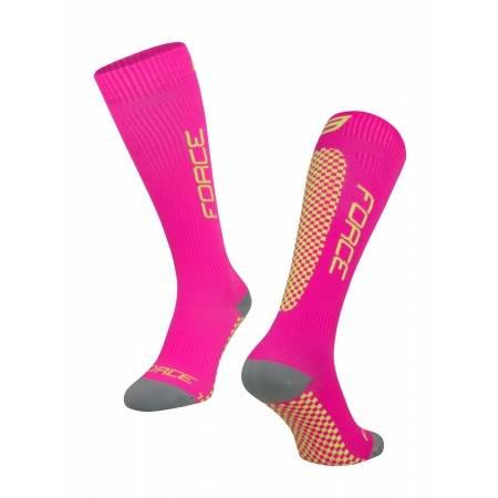 Ponožky Force TESSERA KOMPRESNÍ | širší W | růžová-fluo obr.[1]